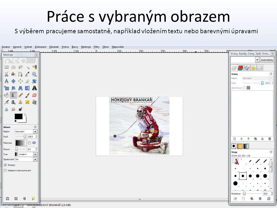 Práce s vybraným obrazem S výběrem pracujeme samostatně, například vložením textu nebo barevnými úpravami