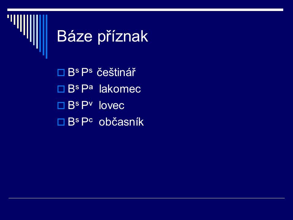 Báze příznak  B s P s češtinář  B s P a lakomec  B s P v lovec  B s P c občasník