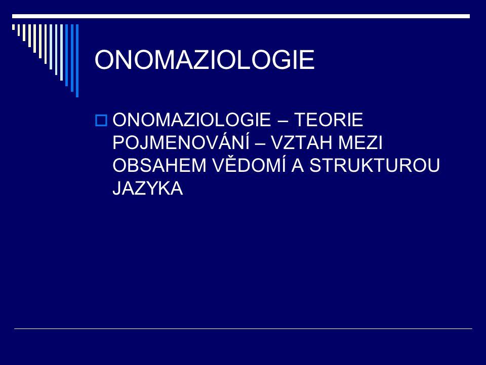 ONOMAZIOLOGICKÁ KATEGORIE  POJMOVÁ BÁZE – odpovídající slovní druh  Kategorie SUBSTANČNÍ - substantiva  Kategorie VLASTNOSTÍ - adjektiva  Kategorie DĚJE - slovesa  Kategorie OKOLNOSTÍ - adverbia