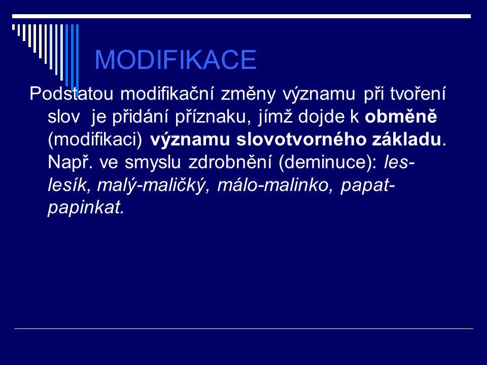 MODIFIKACE Podstatou modifikační změny významu při tvoření slov je přidání příznaku, jímž dojde k obměně (modifikaci) významu slovotvorného základu. N