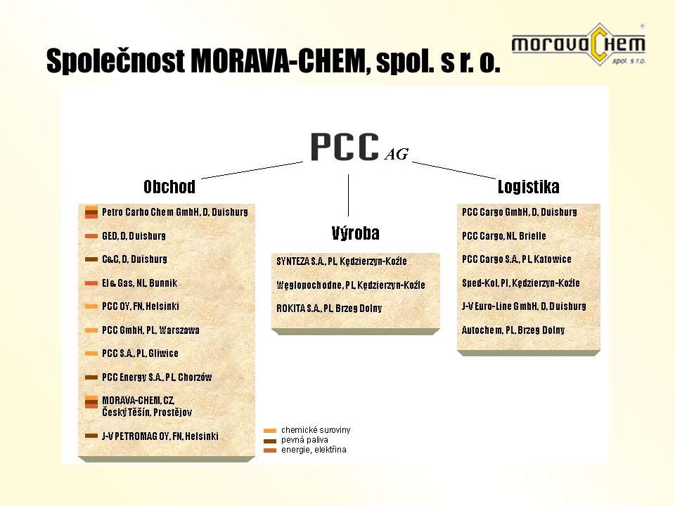 Založena - 1992 Společnost MORAVA-CHEM, spol. s r. o. Základní jmění – 55 mil. Kč Počet pracovníků - 30 Obrat cca 1,2 mld. Kč Majitel – 100 % PCC AG O