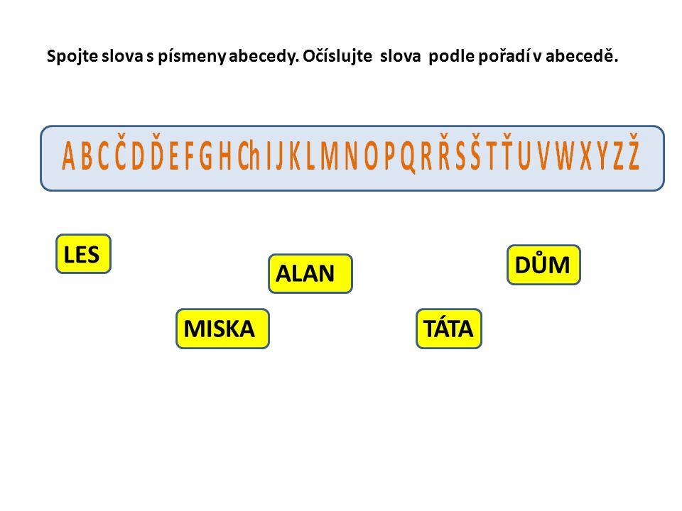 LES MISKA ALAN TÁTA DŮM Spojte slova s písmeny abecedy. Očíslujte slova podle pořadí v abecedě.