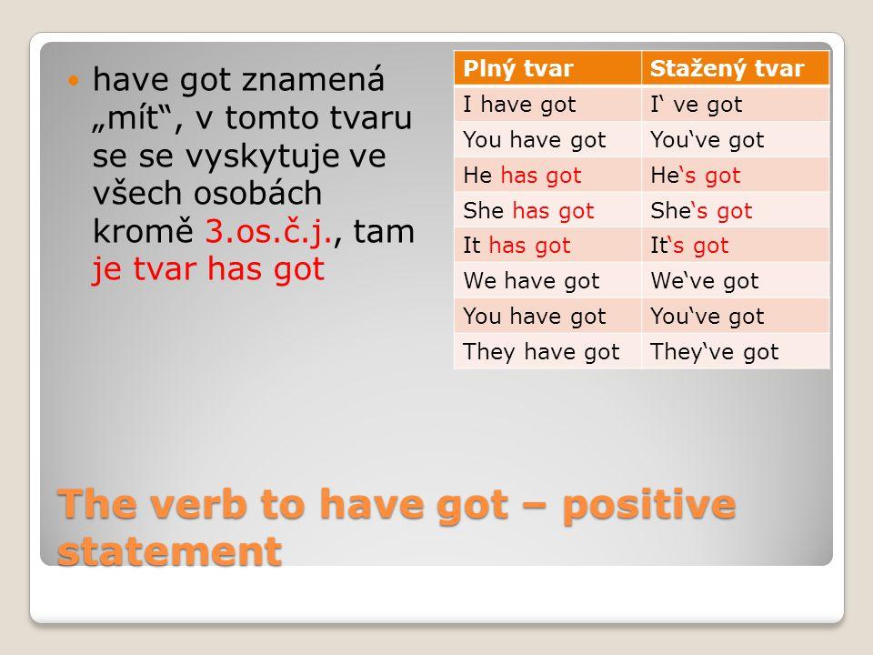 """The verb to have got – positive statement have got znamená """"mít , v tomto tvaru se se vyskytuje ve všech osobách kromě 3.os.č.j., tam je tvar has got Plný tvarStažený tvar I have gotI' ve got You have gotYou've got He has gotHe's got She has gotShe's got It has gotIt's got We have gotWe've got You have gotYou've got They have gotThey've got"""