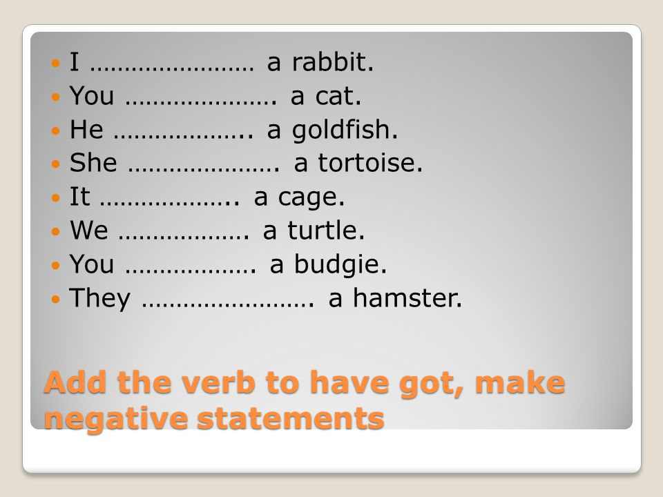 Add the verb to have got, make negative statements I …………………… a rabbit. You …………………. a cat. He ……………….. a goldfish. She …………………. a tortoise. It ………………