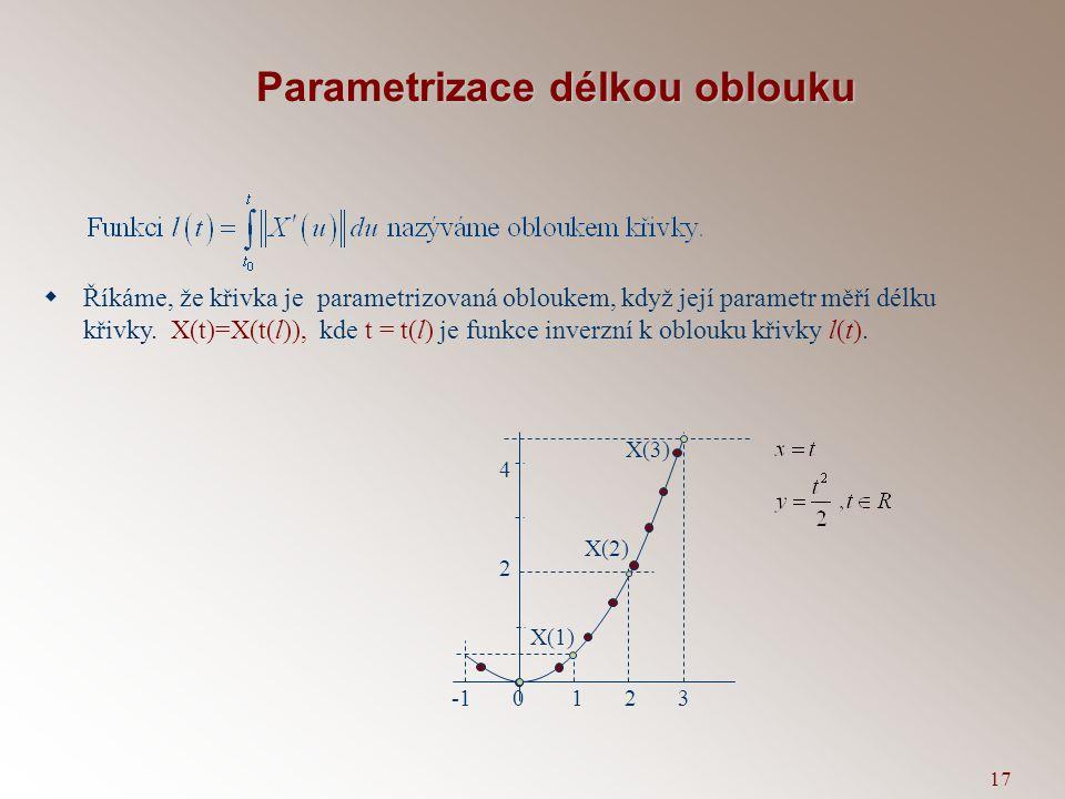 16 Délka oblouku křivky X(t) mezi body X(t a ) a X(t b ) X(t) X(t 0 ) b=X(t n ) X(t 1 ) X(t 2 ) X(t 3 )