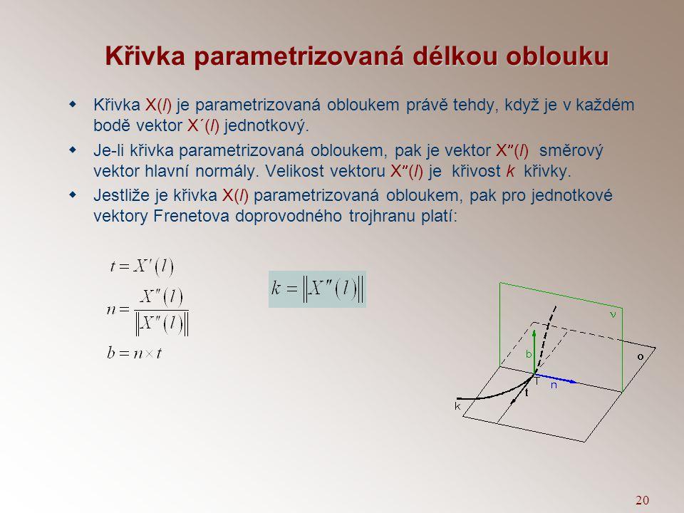 19 Geometrický význam křivosti  Bod křivky je inflexní právě tehdy, je-li v něm první křivost nulová.  Je-li bod V vrchol křivky, pak v něm má funkc