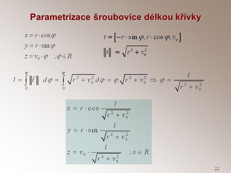 21 Výpočet křivosti křivky 1.Je-li křivka X(l) parametrizovaná obloukem 2.Je-li křivka X(t) dána obecným parametrem 3.Je-li křivka dána jako graf funk