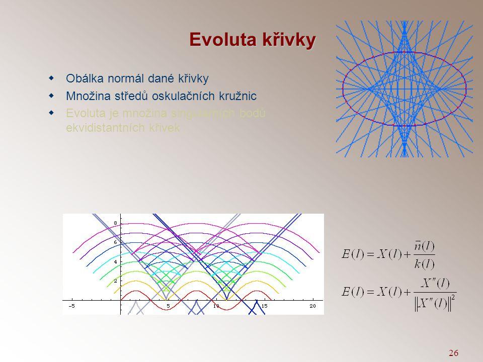 25 Ekvidistanta křivky k  Definice konstrukcí: V regulární bodě rovinné křivky k sestrojíme normálu n a na ni naneseme úsečku, jejíž velikost je rovn