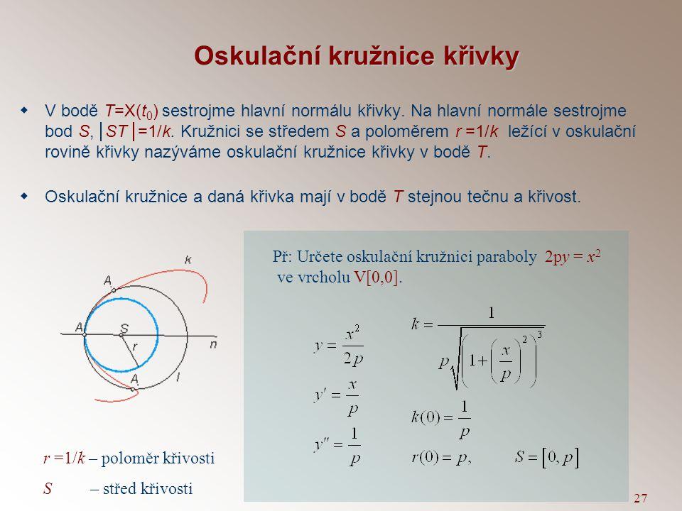 26 Evoluta křivky  Obálka normál dané křivky  Množina středů oskulačních kružnic  Evoluta je množina singulárních bodů ekvidistantních křivek