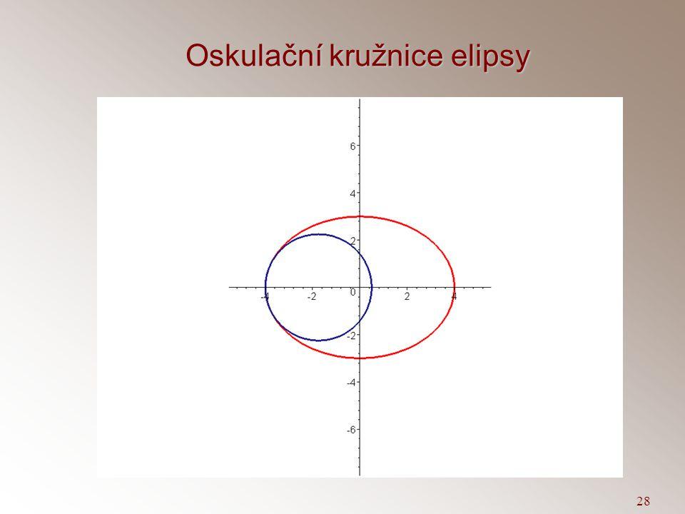 27 Oskulační kružnice křivky  V bodě T=X(t 0 ) sestrojme hlavní normálu křivky. Na hlavní normále sestrojme bod S,  ST  =1/k. Kružnici se středem S