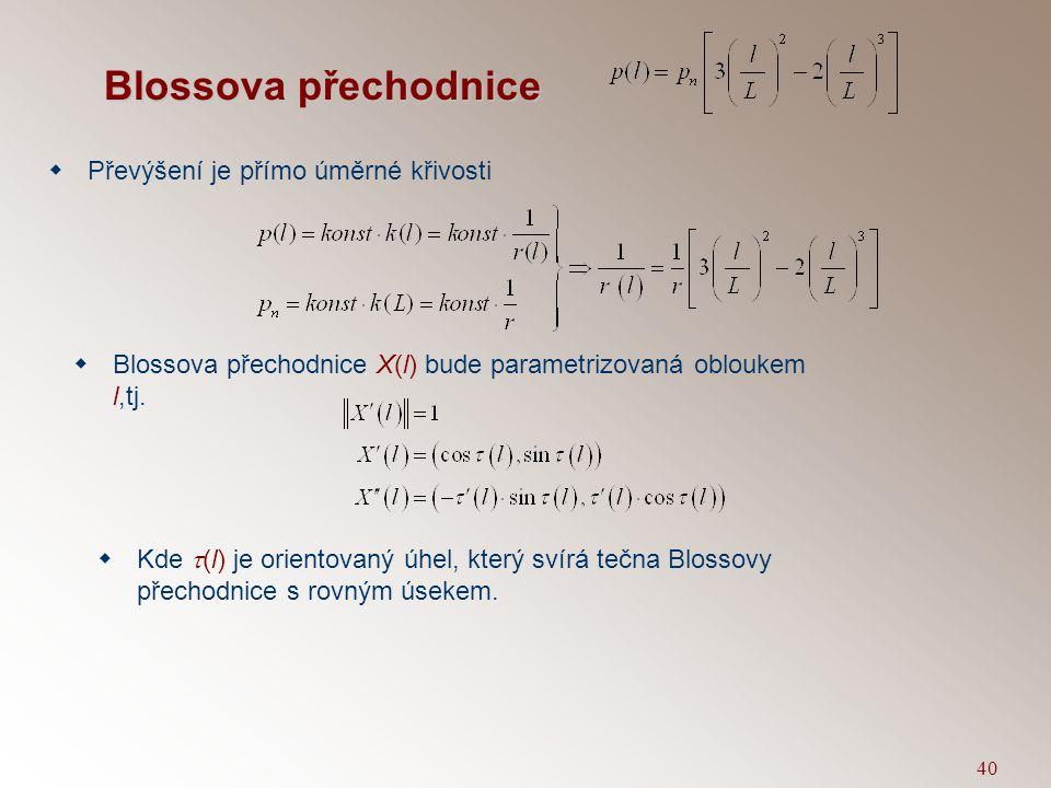 39 Blossova přechodnice  Délka přechodnice je stejná jako délka vzestupnice – L.  Křivost zatáčky k(L) je převrácená hodnota poloměru zatáčky r.  K