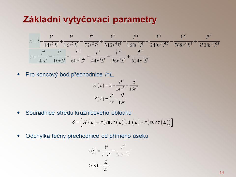 43 Aproximace Blossovy přechodnice polynomem  Po integraci  Sestrojíme Taylorův rozvoj v bodě l=0.