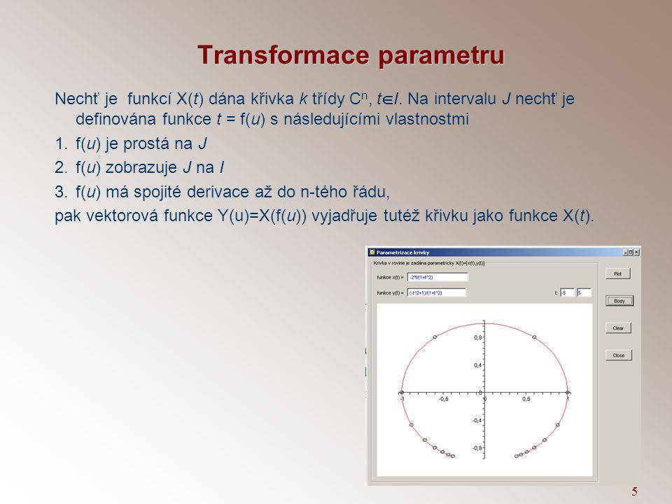 15 Inflexní bod Bod X(t 0 ) křivky X(t) se nazývá inflexní bod křivky, jestliže jsou vektory první a druhé derivace lineárně závislé.