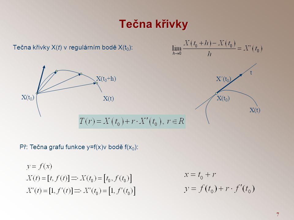 7 Tečna křivky Tečna křivky X(t) v regulárním bodě X(t 0 ): X(t 0 ) X(t) X´(t 0 ) t X(t 0 ) X(t) X(t 0 +h) Př: Tečna grafu funkce y=f(x)v bodě f(x 0 ):