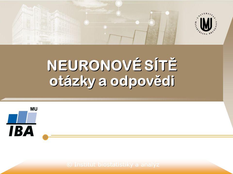 © Institut biostatistiky a analýz NEURONOVÉ SÍT Ě otázky a odpov ě di