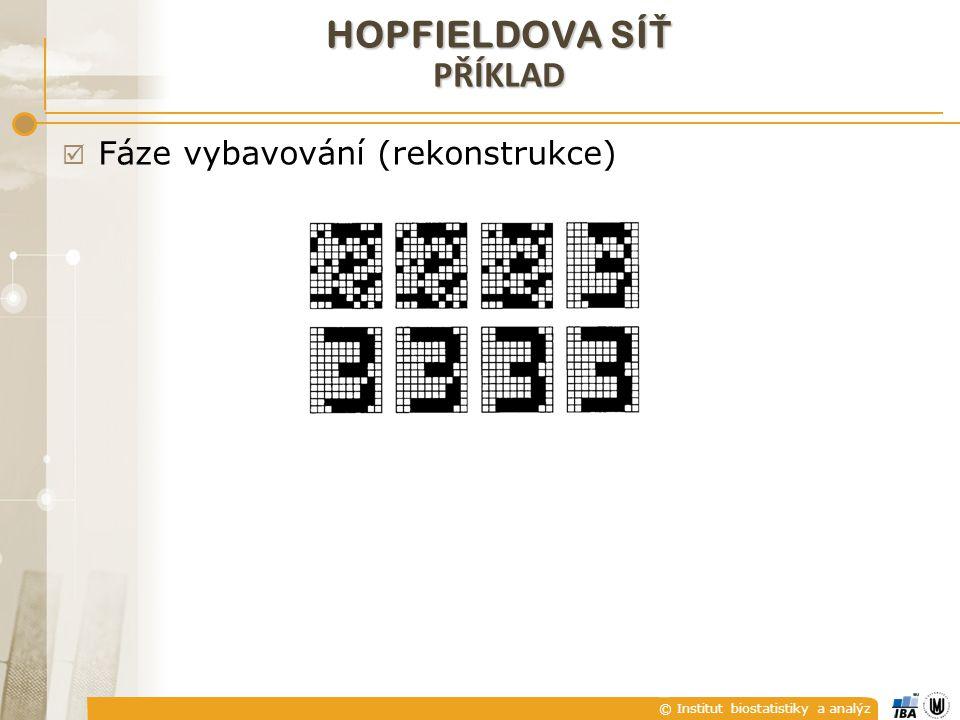 © Institut biostatistiky a analýz  Fáze vybavování (rekonstrukce) HOPFIELDOVA SÍ Ť PŘÍKLAD