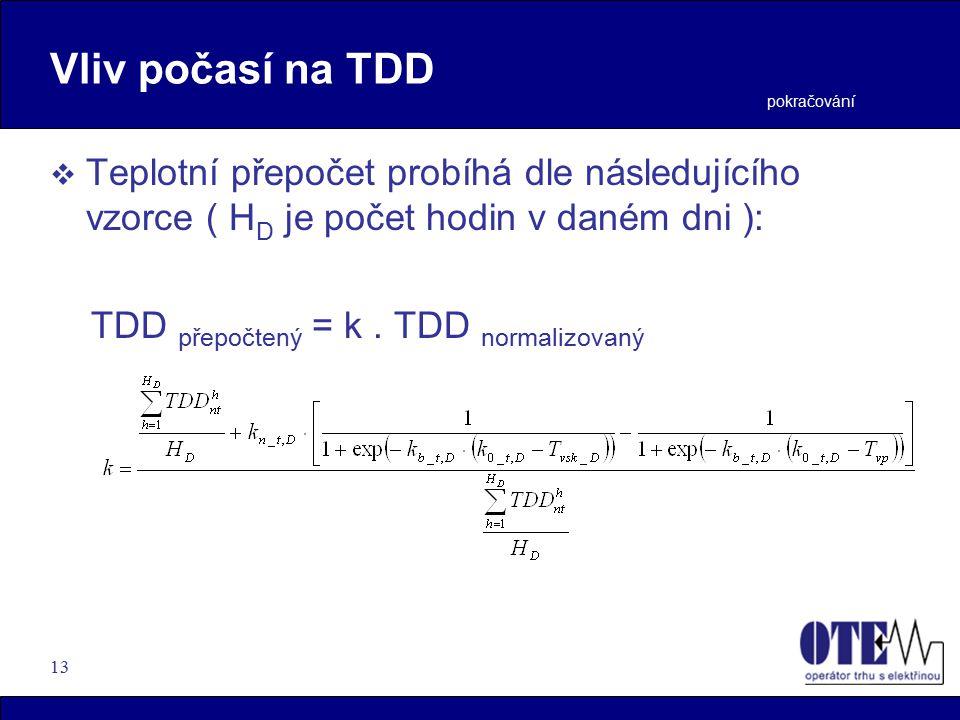 13 Vliv počasí na TDD  Teplotní přepočet probíhá dle následujícího vzorce ( H D je počet hodin v daném dni ): TDD přepočtený = k.