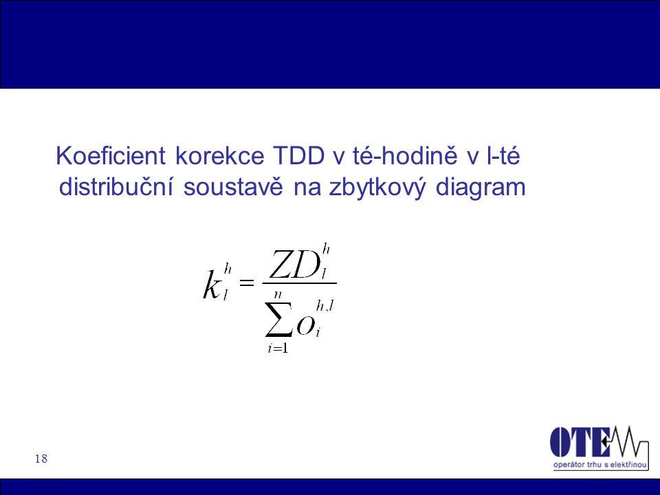 18 Koeficient korekce TDD v té-hodině v l-té distribuční soustavě na zbytkový diagram