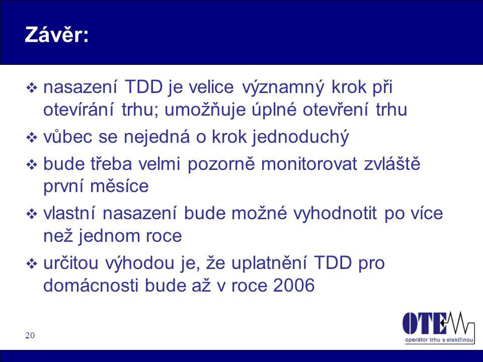 20 Závěr:  nasazení TDD je velice významný krok při otevírání trhu; umožňuje úplné otevření trhu  vůbec se nejedná o krok jednoduchý  bude třeba velmi pozorně monitorovat zvláště první měsíce  vlastní nasazení bude možné vyhodnotit po více než jednom roce  určitou výhodou je, že uplatnění TDD pro domácnosti bude až v roce 2006