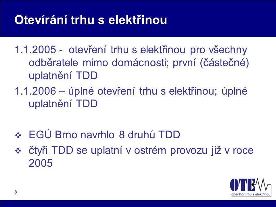 6 Otevírání trhu s elektřinou 1.1.2005 - otevření trhu s elektřinou pro všechny odběratele mimo domácnosti; první (částečné) uplatnění TDD 1.1.2006 – úplné otevření trhu s elektřinou; úplné uplatnění TDD  EGÚ Brno navrhlo 8 druhů TDD  čtyři TDD se uplatní v ostrém provozu již v roce 2005