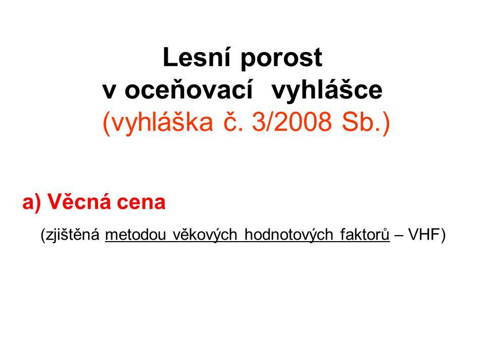 Lesní porost v oceňovací vyhlášce (vyhláška č. 3/2008 Sb.) a) Věcná cena (zjištěná metodou věkových hodnotových faktorů – VHF)