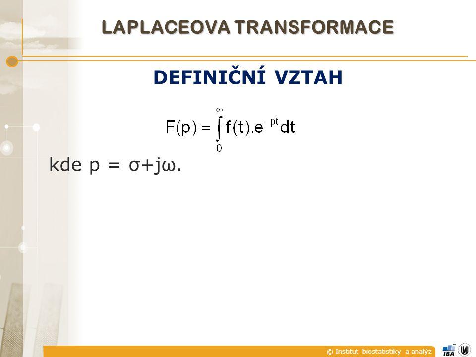 © Institut biostatistiky a analýz LAPLACEOVA TRANSFORMACE DEFINIČNÍ VZTAH kde p = σ+jω.