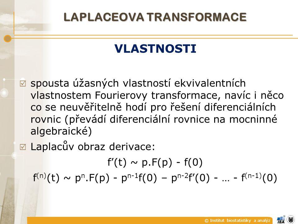 © Institut biostatistiky a analýz VLASTNOSTI  spousta úžasných vlastností ekvivalentních vlastnostem Fourierovy transformace, navíc i něco co se neuv