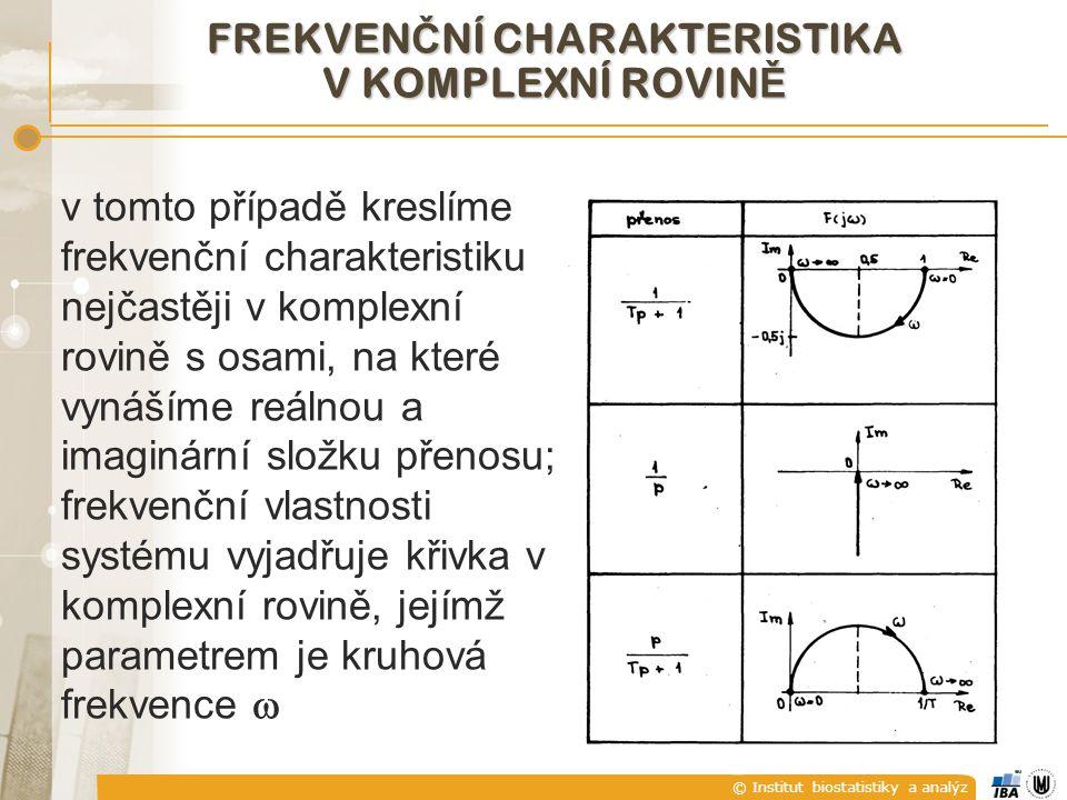© Institut biostatistiky a analýz FREKVEN Č NÍ CHARAKTERISTIKA V KOMPLEXNÍ ROVIN Ě v tomto případě kreslíme frekvenční charakteristiku nejčastěji v ko