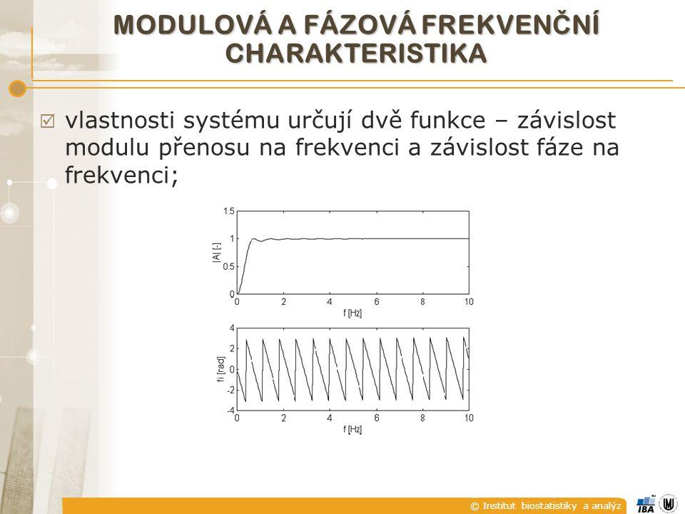 © Institut biostatistiky a analýz  vlastnosti systému určují dvě funkce – závislost modulu přenosu na frekvenci a závislost fáze na frekvenci; MODULO