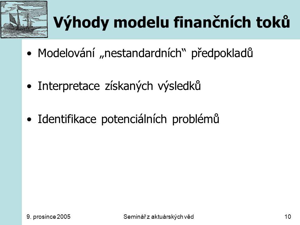 """9. prosince 2005Seminář z aktuárských věd10 Výhody modelu finančních toků Modelování """"nestandardních"""" předpokladů Interpretace získaných výsledků Iden"""