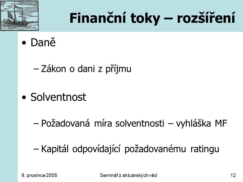9. prosince 2005Seminář z aktuárských věd12 Finanční toky – rozšíření Daně –Zákon o dani z příjmu Solventnost –Požadovaná míra solventnosti – vyhláška