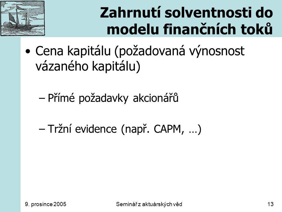 9. prosince 2005Seminář z aktuárských věd13 Zahrnutí solventnosti do modelu finančních toků Cena kapitálu (požadovaná výnosnost vázaného kapitálu) –Př