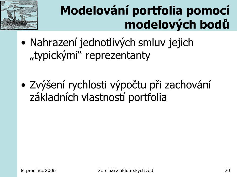 """9. prosince 2005Seminář z aktuárských věd20 Modelování portfolia pomocí modelových bodů Nahrazení jednotlivých smluv jejich """"typickými"""" reprezentanty"""