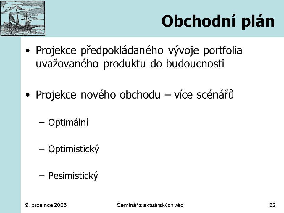 9. prosince 2005Seminář z aktuárských věd22 Obchodní plán Projekce předpokládaného vývoje portfolia uvažovaného produktu do budoucnosti Projekce novéh