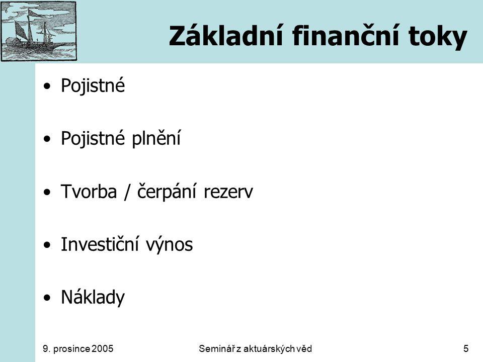 9. prosince 2005Seminář z aktuárských věd5 Základní finanční toky Pojistné Pojistné plnění Tvorba / čerpání rezerv Investiční výnos Náklady