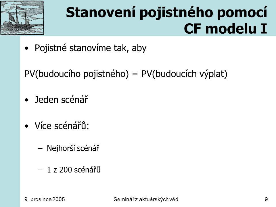 9. prosince 2005Seminář z aktuárských věd9 Stanovení pojistného pomocí CF modelu I Pojistné stanovíme tak, aby PV(budoucího pojistného) = PV(budoucích