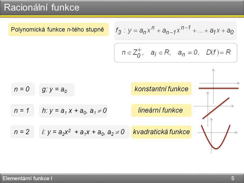 Mocninná funkce Elementární funkce I 6 Mocninná funkce s přirozeným exponentem y = x 2 y = x 4 y = x 6 y = x 3 y = x 5 y = x 7 n je sudén je liché 1 1 −1 1 1