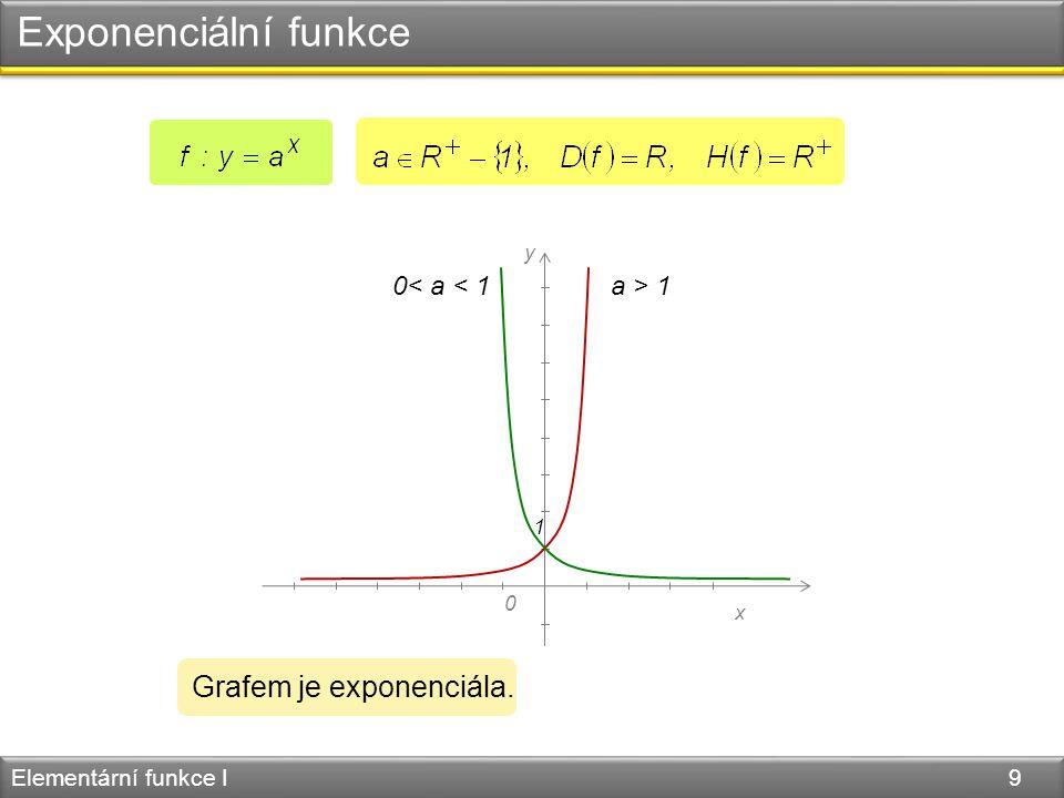 Exponenciální funkce Elementární funkce I 9 0 y x 1 a > 1 0< a < 1 Grafem je exponenciála.