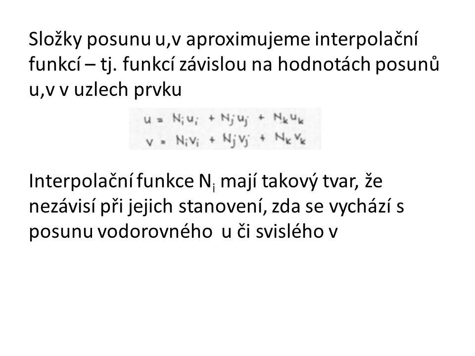Složky posunu u,v aproximujeme interpolační funkcí – tj.