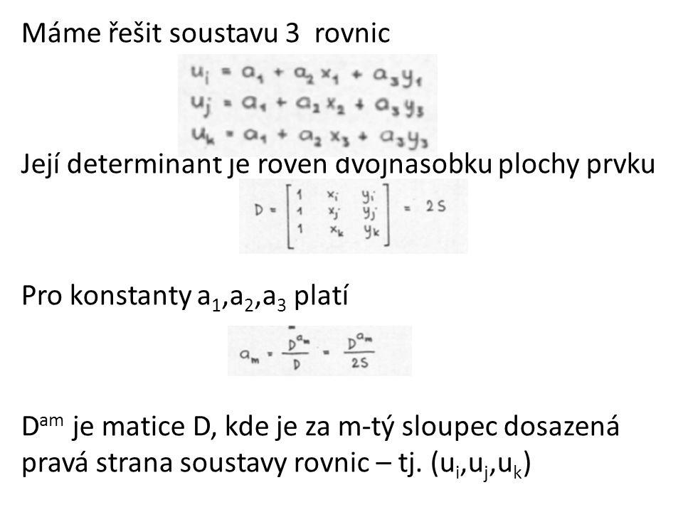 Máme řešit soustavu 3 rovnic Její determinant je roven dvojnásobku plochy prvku Pro konstanty a 1,a 2,a 3 platí D am je matice D, kde je za m-tý sloupec dosazená pravá strana soustavy rovnic – tj.
