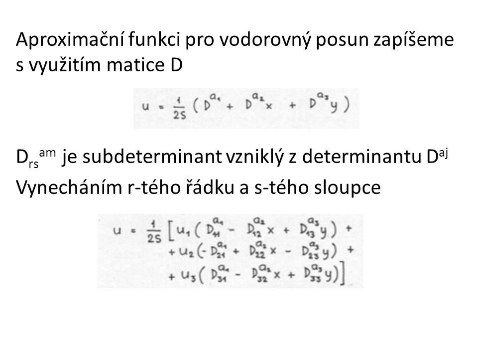 Aproximační funkci pro vodorovný posun zapíšeme s využitím matice D D rs am je subdeterminant vzniklý z determinantu D aj Vynecháním r-tého řádku a s-tého sloupce