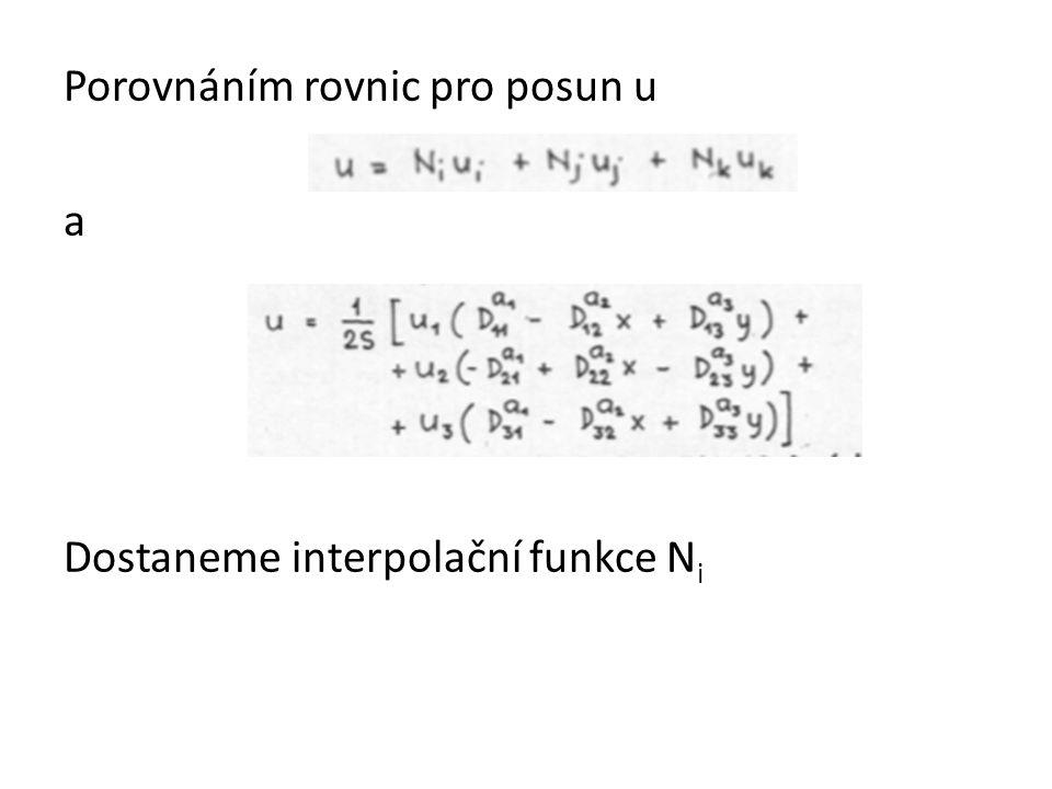Interpolační funkce N i Konstanty m,n,p závisí pouze na souřadnicích uzlů prvku tj. N p =N p (x,y)