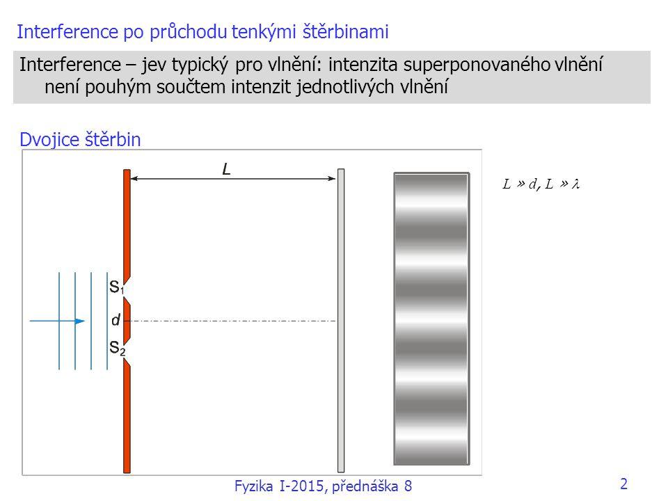 Interference po průchodu tenkými štěrbinami Interference – jev typický pro vlnění: intenzita superponovaného vlnění není pouhým součtem intenzit jedno