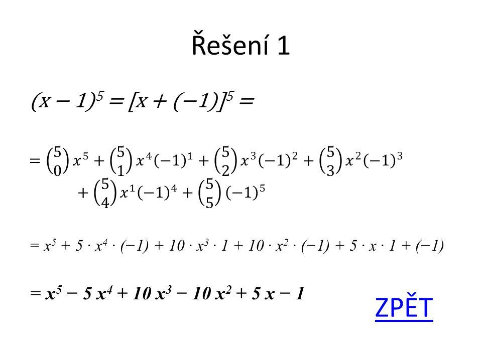 Řešení 1 ZPĚT