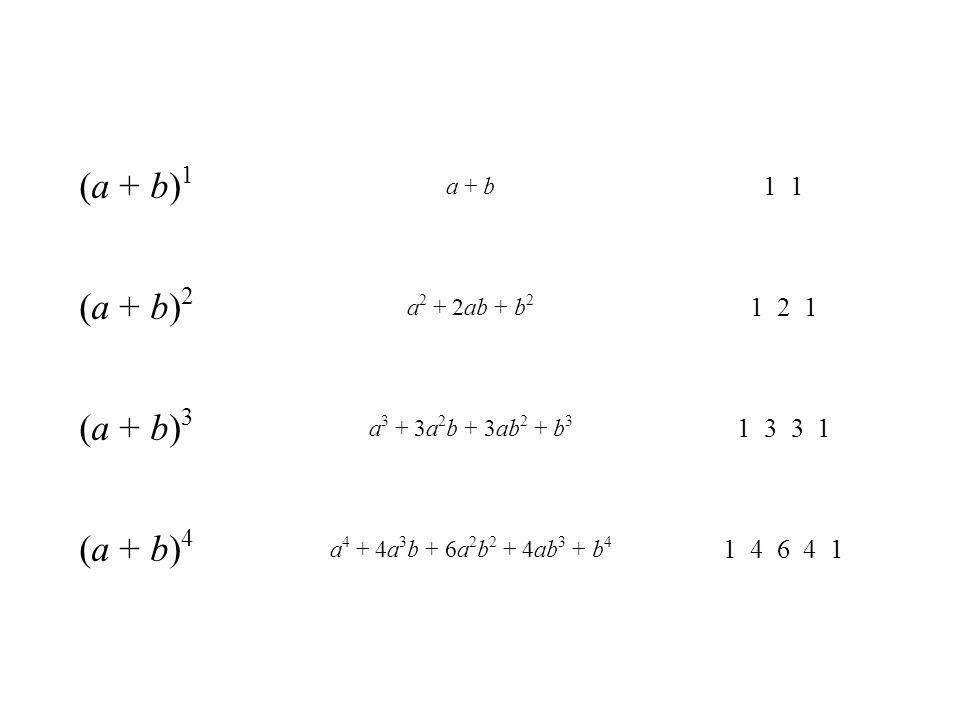 (a + b) 1 a + b 1 (a + b) 2 a 2 + 2ab + b 2 1 2 1 (a + b) 3 a 3 + 3a 2 b + 3ab 2 + b 3 1 3 3 1 (a + b) 4 a 4 + 4a 3 b + 6a 2 b 2 + 4ab 3 + b 4 1 4 6 4
