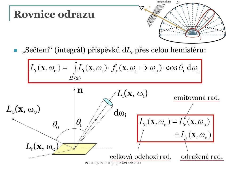 """Rovnice odrazu """"Sečtení (integrál) příspěvků dL r přes celou hemisféru: didi L o (x,  o ) oo n L i (x,  i ) ii L r (x,  o ) celková odchozí rad."""