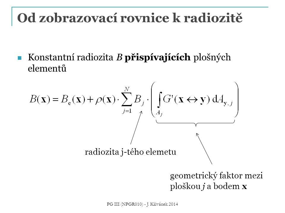 Od zobrazovací rovnice k radiozitě Konstantní radiozita B přispívajících plošných elementů radiozita j-tého elemetu geometrický faktor mezi ploškou j a bodem x PG III (NPGR010) - J.