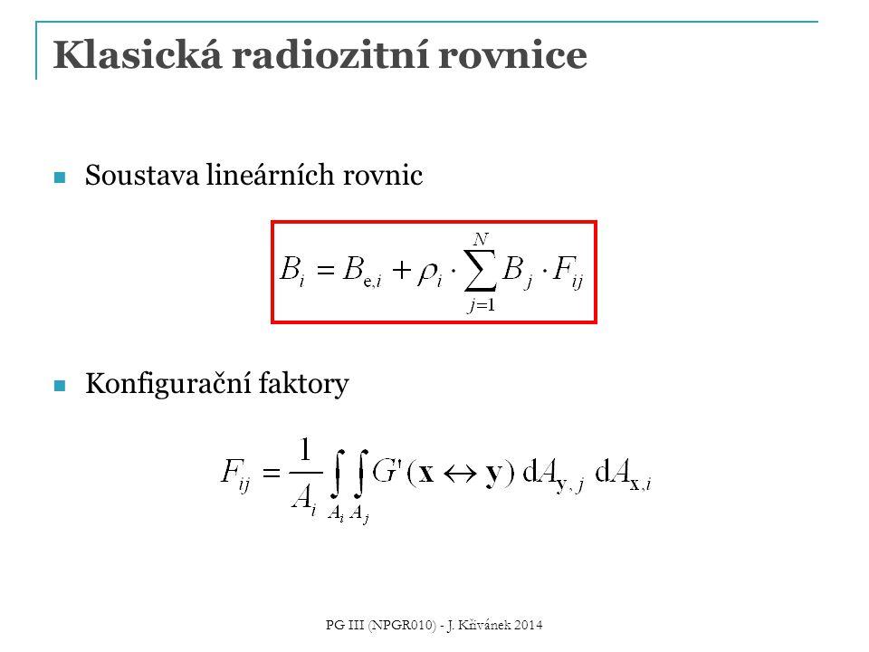 Klasická radiozitní rovnice Soustava lineárních rovnic Konfigurační faktory PG III (NPGR010) - J.