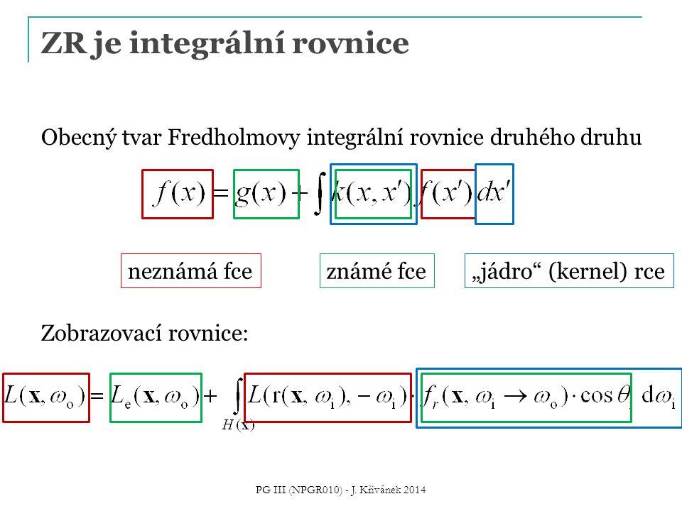 """ZR je integrální rovnice Obecný tvar Fredholmovy integrální rovnice druhého druhu Zobrazovací rovnice: neznámá fceznámé fce """"jádro (kernel) rce PG III (NPGR010) - J."""