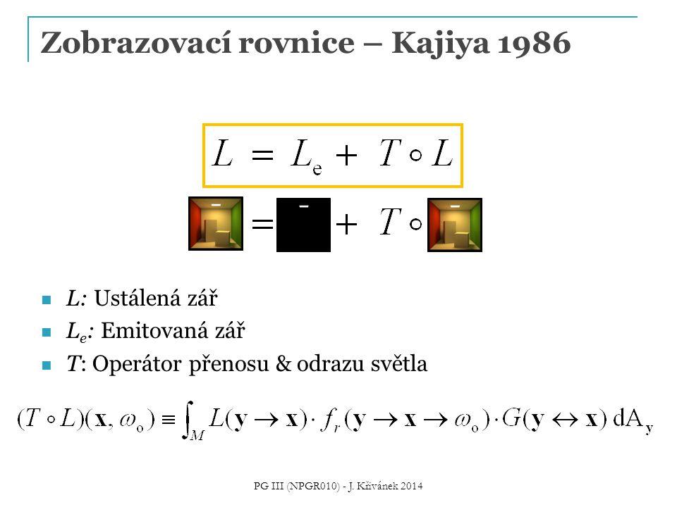 L: Ustálená zář L e : Emitovaná zář T: Operátor přenosu & odrazu světla Zobrazovací rovnice – Kajiya 1986 PG III (NPGR010) - J.